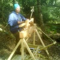 Green wood turning on a pole lathe in the woods